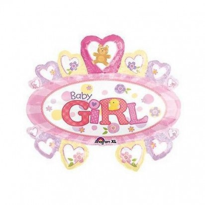 "27"" Baby Girl Marquee Helium Foil Balloon"