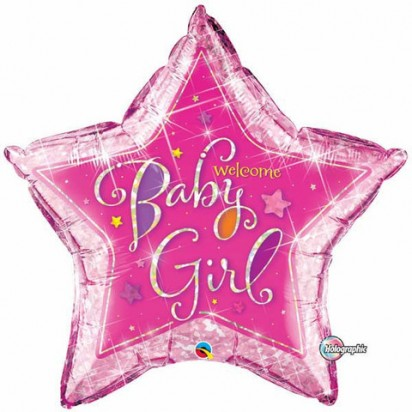 "36"" Star Baby Girl Holographic Helium Foil Balloon"
