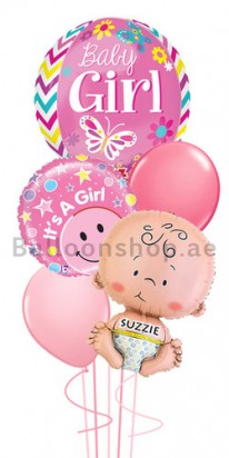 Personalized Orbz Girl Newborn Jumbo Balloon Bouquet