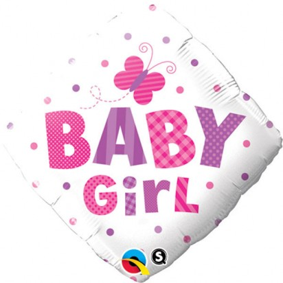 """18"""" Baby Girl Butterfly And Dots Helium Foil Balloon"""