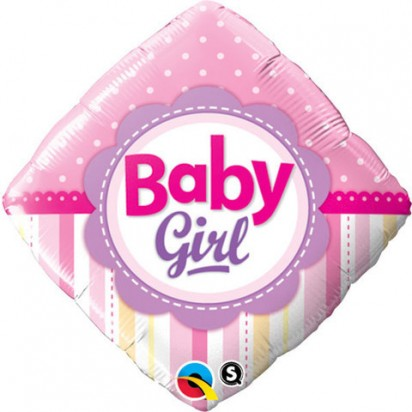 """18"""" Baby Girl Dots And Stripes Helium Foil Balloon"""