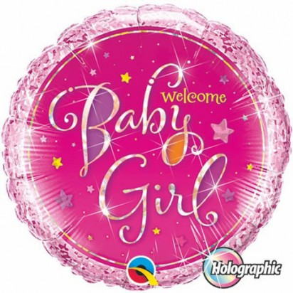 "18"" Baby Girl Holographic Helium Foil Balloon"
