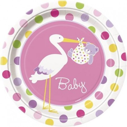 "7"" Baby Girl Stork Normal Party Plates (8 ct)"