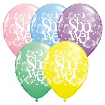 "11"" Baby Shower Assortments Helium Latex Balloons (Set of 5)"