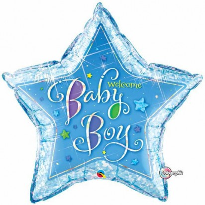 "36"" Star Baby Boy Holographic Helium Foil Balloon"