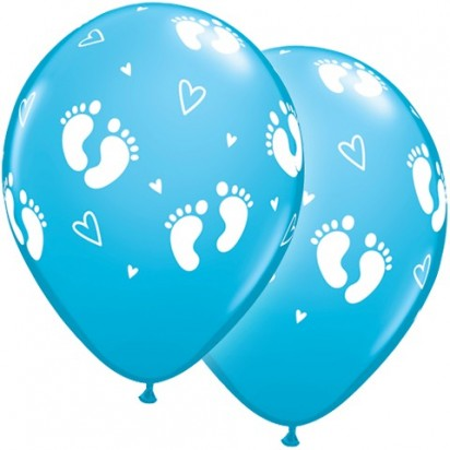 "11"" Baby Boy Footprints Newborn Helium Balloons (Set of 2 )"
