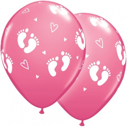 "11"" Baby Footprints & Hearts Newborn Helium Balloons  (Set of 2)"