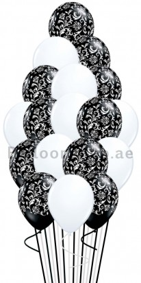 Plain White & Black Damask Balloon Bouquet