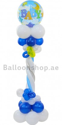 Baby Boy Column Newborn Balloon Arrangement