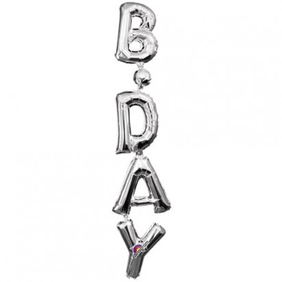 "34"" Birthday (Air-Filled) Silver Letter Foil Balloon"