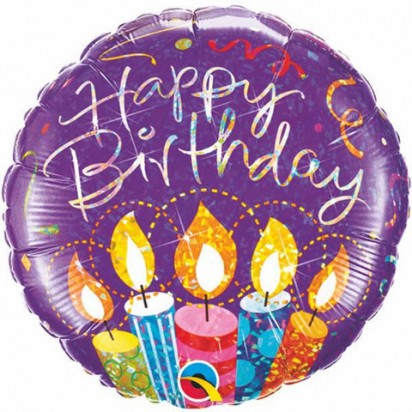 "18"" Holographic Birthday Party Candles Helium Foil Balloon"
