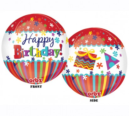 "16"" Happy Birthday Stripes & Bursts Orbz Helium Foil Balloon"