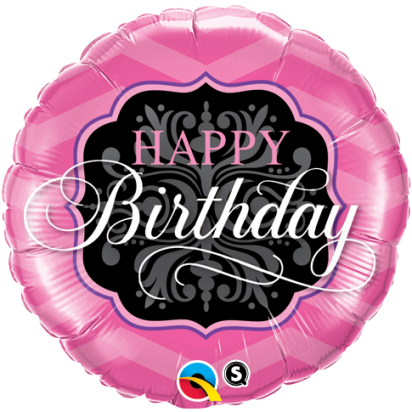 "18"" Birthday Pink and Black Helium Foil Balloon"