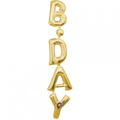 Bday Gold (Air-Filled) Letter Foil Balloon