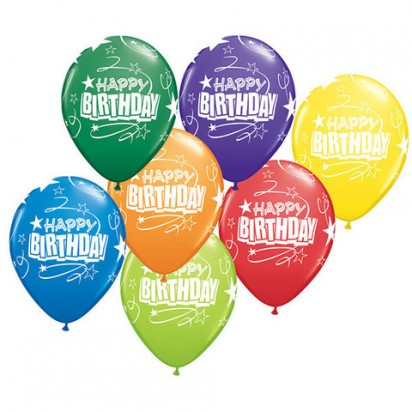 "11"" Birthday Loops and Stars Assortment Helium Balloon  (Set of 7)"