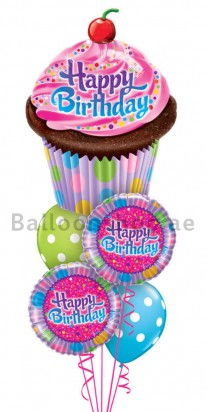 Confetti Cupcake Birthday Balloon Bouquet