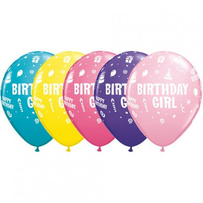 "11"" Birthday Girl Assortment Helium Balloons (Set of 5)"