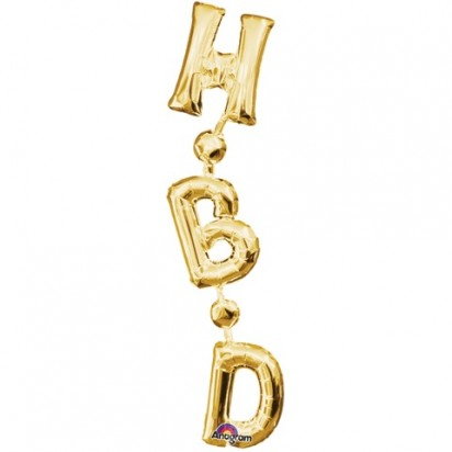 "7"" x 32"" Birthday Gold HBD (Air-Filled)"