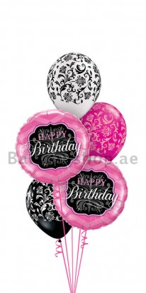 Pink Foil & Damask Occasion Set of 5 Helium Balloon