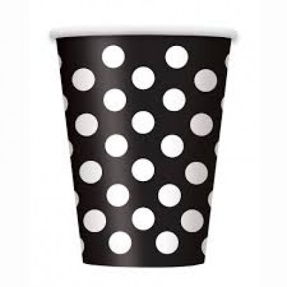 Party Black Dot Cups (8 cups)
