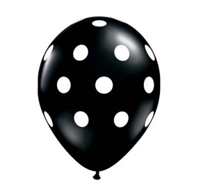 "11"" Black Polka Helium Balloon"