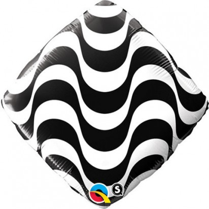 "18"" Diamond Black And White Helium Foil Balloon"