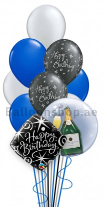 Birthday Man (Pop the Champagne) Helium Balloon Bouquet