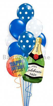 Personalized Champagne Birthday Balloon Bouquet