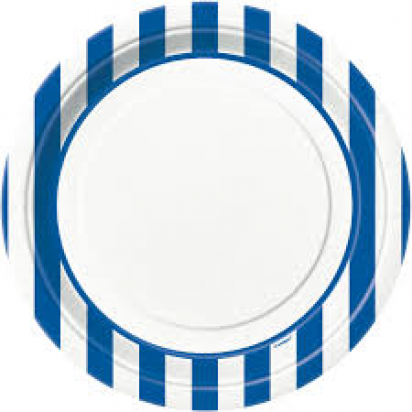 "8"" Blue Sripe Normal Party Plates (8ct)"