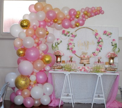 Pink, White and Gold Confetti Organic Balloon Arch (  5 meters )