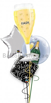 Personalized Birthday (A Toast For you) Balloon Arrangement