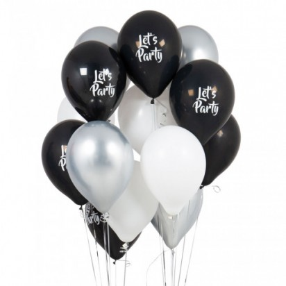 Classic Black and White Balloon Bouquet