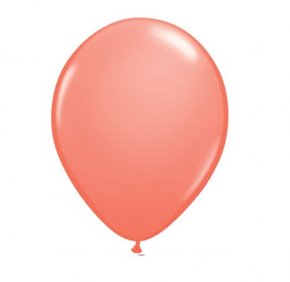 "11"" Coral Helium Plain Latex Balloon"