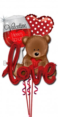 Happy Valentine's Day Teddy Love Balloon Bouquet