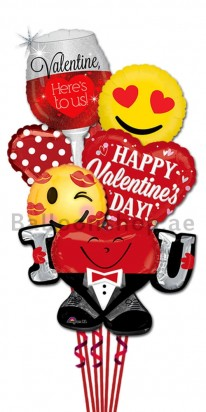 Ultra Jumbo Happy Valentine's Day Cheers Balloon Bouquet