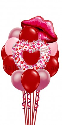 Happy Valentine Day - Heart and Kisses Balloon Bouquet
