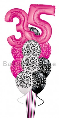 (12 Balloons) Any Age Birthday Damask