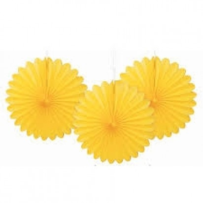 Decorative Fans Soft Yellow Hanging Decorations (3cts)