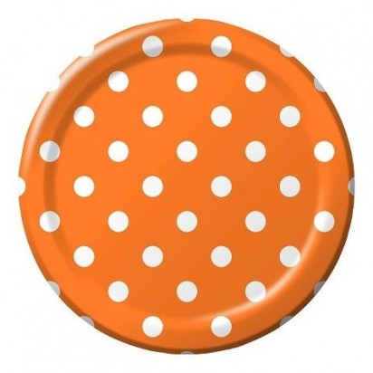 "8"" Dots Orange  Normal Party Plates (8ct)"