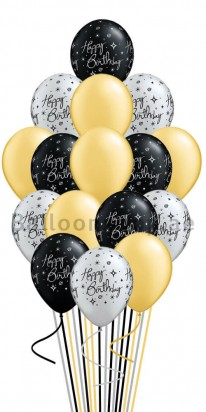 Black, Gold and Silver Birthday Balloon Bouquet