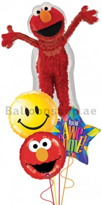 Elmo Smiley Foil Balloon Bouquet