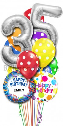 Personalized Birthday Any Age Any Name Color Blast Balloon Arrangement
