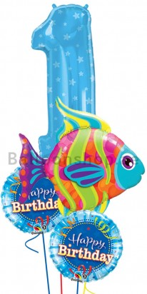 1st Birthday Sea Creatures Jumbo Balloon Bouquet