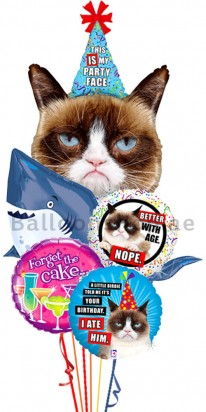 Grumpy Cat, Shark Balloon Birthday Bouquet
