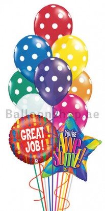 12 Balloons Great Job! Polka Balloon Arrangement