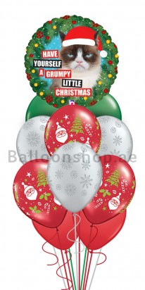 11 Balloons Grumpy Cat Christmas Balloon Bouquet