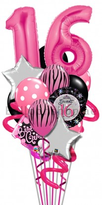 Sweet Sixteen Pink And Silver Luxury Birthday Balloon Bouquet