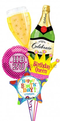 HB2U Champagne Birthday Balloon Bouquet