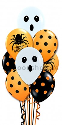 Halloween Prints, Spider, Dots and Ghost Face Balloon Bouquet