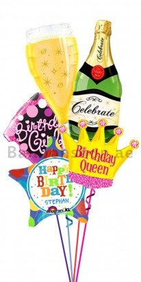 Birthday Girl Champagne Birthday Balloon Bouquet
